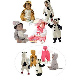 New Newborn Baby Girl Boy's Hooded Fleece Jumpsuit Onepiece Suit Romper Costume