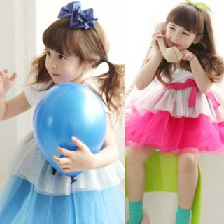 Lovely Girls Baby One Piece Dress Bow Knot Tutu Dress Party Skirts Costume 2 7Y