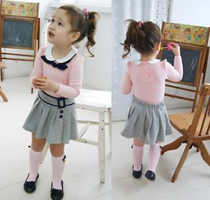 Girls Baby Kids Long Sleeves Top Skirt 2 Pcs Outfit Set S1 6Y Costume Clothing