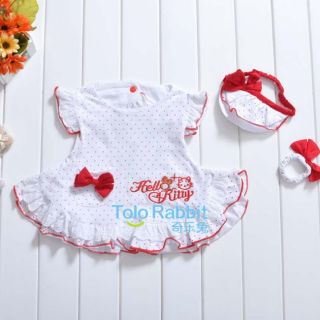 New Baby Girls 3 Pcs Kids Dress Hand Wear Headband Set Clothes Costume H1232