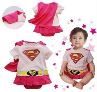 Superman Suit Fancy Dress Superhero Costume for Girl Toddler Kid Boy Romper Gift