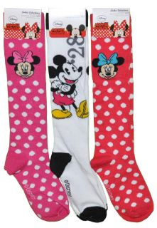 Disney Knee High Mickey Mouse Minnie 1 Pair Socks Size 6 8 Shoe Size 4 10 5