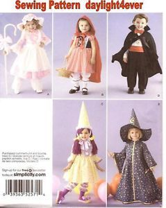 Toddler Costume Pattern 2571 Little Bo Peep Little Red Riding Hood Dracula Clown
