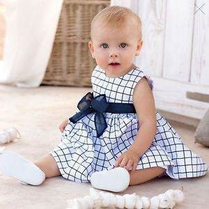 Baby Toddler Girl Kid Cotton Tops Plaids Bowknot Dress Outfit Clothes Skirt 0 3Y