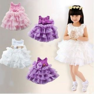 Children Clothing Wedding Rose Floral Birthday Party Dress 1 5T Baby Kid Girl