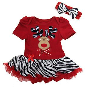 2pcs Girl's Christmas Deer Elk Dress Headband Outfits 1 5Y Toddler Clothes 184