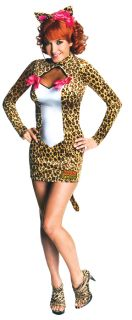 Archie Comics Josie Adult Womens Costume Sexy Mini Leopard Print Dress Halloween