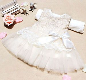 Baby Girls Kids Princess Party Lace Bow Christmas Formal Dress Clothes 2 Colors