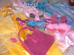 Huge Lot Girls Princess Fantasy Playclothes Disney Dress Up Costumes 3 4 6X