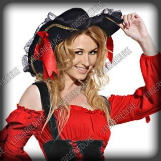 J350 Sexy Pirate Velvet Hat Womens Adult Costume Hats
