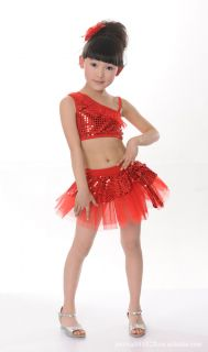 Girls Kids Jazz Latin Ballet Party Costume Dance Dress Skirt Headband Bracelet