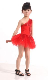 Girls Kids Leotard Jazz Latin Samba Ballet Party Costume Dance Dress Skirt