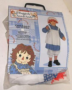 Classic Raggedy Ann Halloween Child Costume Sz 2 4 Rag Doll Toddler Clown Alley
