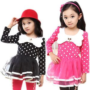 Girl Kid Clothes Toddler Polka Dot Tulle Princess Party Tutu Skirt Dresses