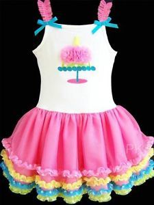 "New Baby Girls ""Pink Birthday Wishes"" Size 24M Boutique Tutu Dress Clothes"