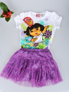 2pcs Kid Girl Dora Princess Baby Dress Skirt Shirt Tutu Outfit Costume 1 5Y