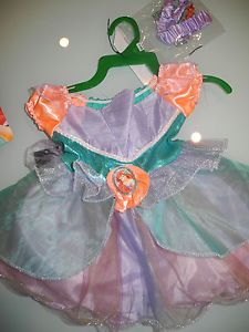 Disney Princess Ariel Girls Infant 2 Piece Dress Costume Size 12 18 Months