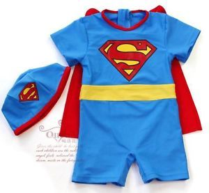 Infant Baby Boys Toddler Childs Superman Costume Swimsuits Blue Red 2 6T