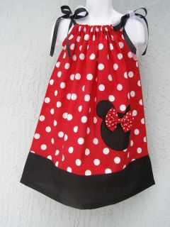 Lovefeme Minnie Mouse Girls Pillowcase Dress Size 1T 2T 3T Red or Pink Xmas GFT