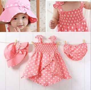 3pcs Girl Baby Polka Dot Dress Skirt Princess Dress Dress Hat Pants Clothes Suit