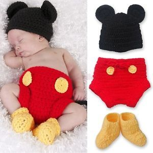 Mickey Mouse Newborn Baby Boy Girls 12 24M Costume Set Crochet Knit Outfit Photo