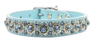 Fancy Jeweled Flower Baby Blue Leather Pet Dog Collar