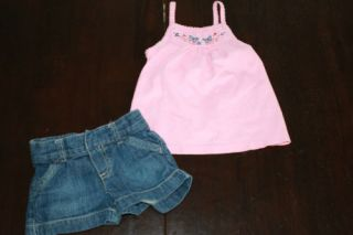 Toddler Girls Tank Top Tee Shirt Jeans Shorts Outfit 2 PC Set Clothes 24M 2T 18M