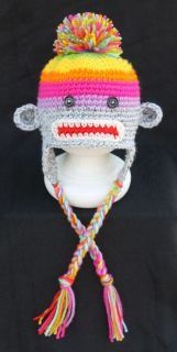 Handmade Crocheted Baby Toddler Sock Monkey Hat You Choose Size Photo Prop