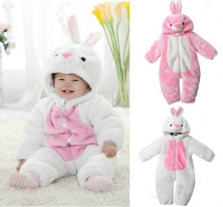 Baby Boys Girls Cute Rabbit Snowsuit Winter Fleece Hoodies Warm Jumpsuit Outwear