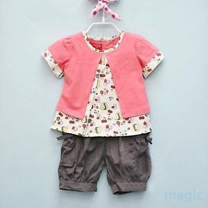 Kids Baby Girls Fruits Pattern 3 Pcs Top Pants Hat Set Outfits Clothes 0 3 Years