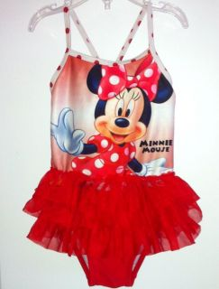 Official Disney Minnie Mouse Red Polka Dot 3 Tier Ruffle One Piece Swimsuit 3T