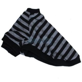 Black Grey Striped T Shirt Shirt Coat Jacket Clothes Apparel for Pet Dog Puppy S