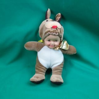 Funny Rubber Face Baby Doll and Puppy Dog Costume Plush Stuffed Animal Brown