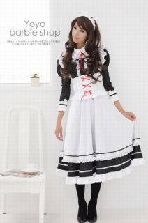 Anime Costume Cosplay Classics Autumn Long –Sleeved Baby Doll Laced Maid Dress