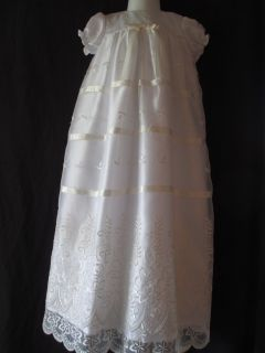 Baby Girl Embroidered Organza Christening Gown Baptism Dress 0 3 3 6 6 12 M