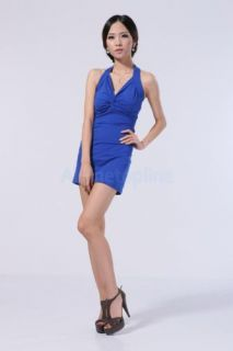 Sexy Women V Neck Backless Twist Knot Club Cocktail Party Halter Mini Dress