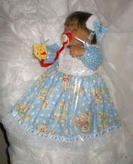 Crochet Baby 0 3 Mts or for Dolls Baby Blue White Teddy Bear Gown