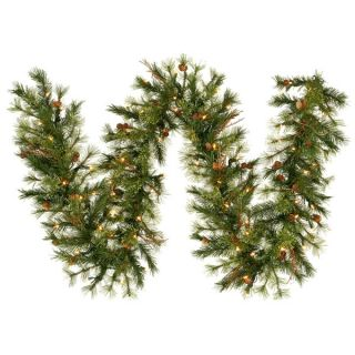 "9' x 12"" Pre Lit Mixed Country Pine Christmas Garland Clear Dura Lights"