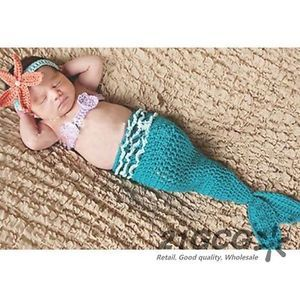 Cute Girl Kid Baby Knit Crochet Mermaid Costume Photo Prop Outfit Clothes CA1002