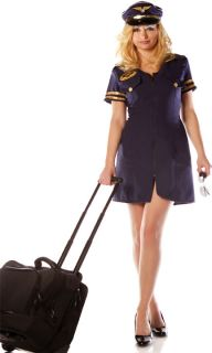Pilot Stewardess Sexy Adult Womens Halloween Costume S