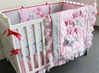 Baby Bedding Crib Cot Sets Pink Butterfly Brand New Design 6 Piece