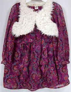 Route 66 Toddler Girl's Orchid Blossom Purple Chiffon Long Sleeve Dress Vest