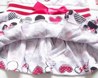 New Girls Minnie Mouse Polka Dots Bowknot Top Dress Birthday Party Costume Sz 5