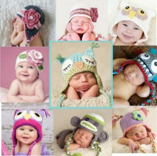 Baby Boy Girl Animal Owl Beanie Child Photo Crochet Knit Costume Hat Cap Prop