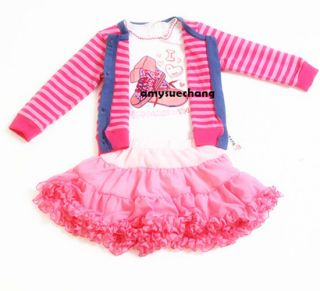 3pcs Baby Girl Kid T Shirt Coat Top Skirt Tutu Dress Outfit Costume Clothes 0 5Y