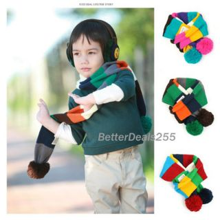 Balls Baby Colorfultoddler Kid Child Boy Strips Girl Knitted Stripe Shawl Scarf