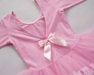 Girls Pink Party Leotard Ballet Dance Fairy Costume Dress Tutu Skirt Sz 3 8Y