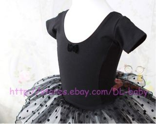 Black Girl Party Leotard Ballet Tutu Button Crotch Costume Dance Dress 2 7 Yrs