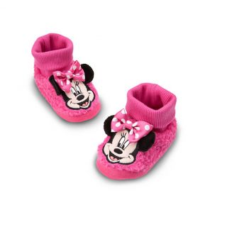 Disney Minnie Mouse Toddler Plush Socktop Slippers Fit Age 1 2