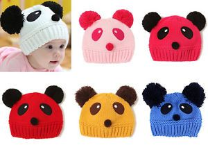 1pc Boy Girl Unisex Baby Toddler Kid Panda Knit Crochet Hat Cap Beanie Accessory